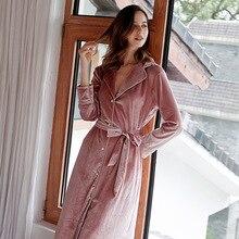 2019 jesienno zimowa damska złota aksamitna piżama damska ciepły szlafrok miękki i wygodny kardigan szlafrok z długim rękawem bielizna nocna