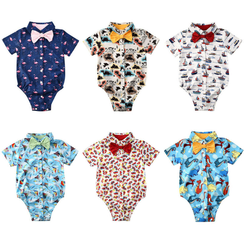 Handsome Newborn Baby Boy Bodysuit One Piece Short Sleeve Infant Boy Body Bebe Bodysuits
