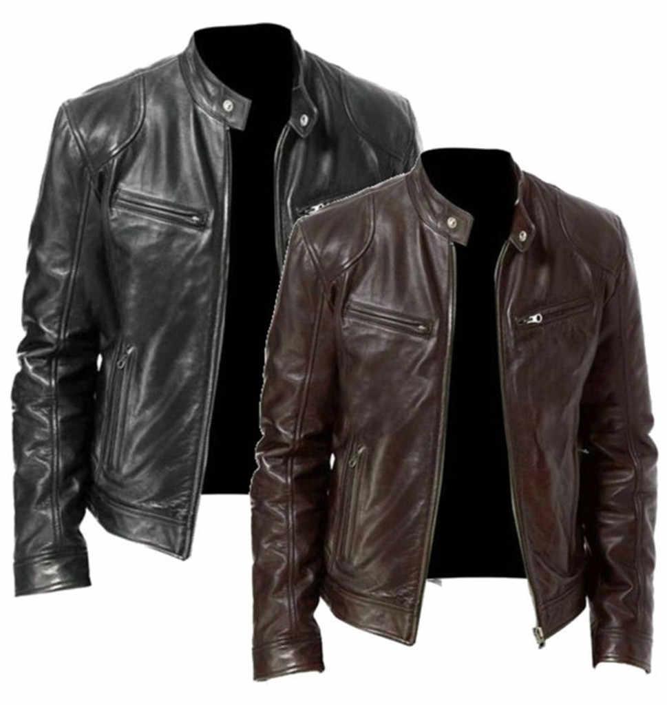 Mannen Vintage Casual Rits Streetwear Jacket Bomber Lederen Lange Mouw Herfst Winter Stand Kraag Club Jas