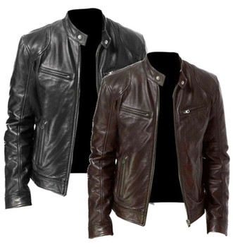 Men Vintage Casual Zipper Streetwear Jacket Bomber Leather Long Sleeve Autumn Winter Stand Collar Cl