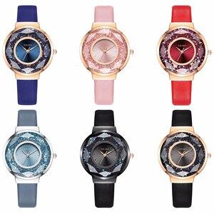 Image 5 - YOLAKO Brand Women Leather Moving Diamond Watch Luxury Ladies Quartz Rhinestone Watches Clock Reloj Mujer Relogio Feminino