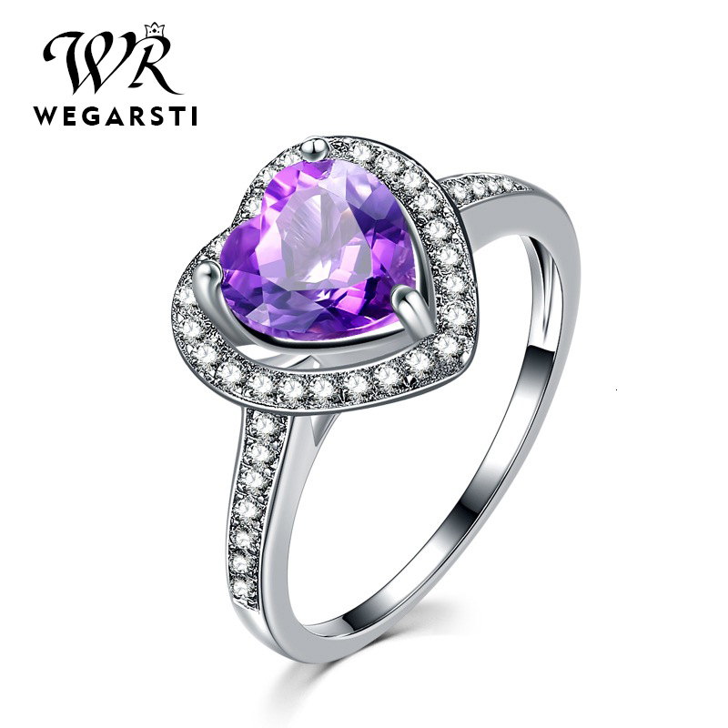 WEGARASTI Silver 925 Jewelry Ring Amethyst Silver 925 Women's Classic Heart Natural Gemstone Rings Engagement Ring Fine Jewelry