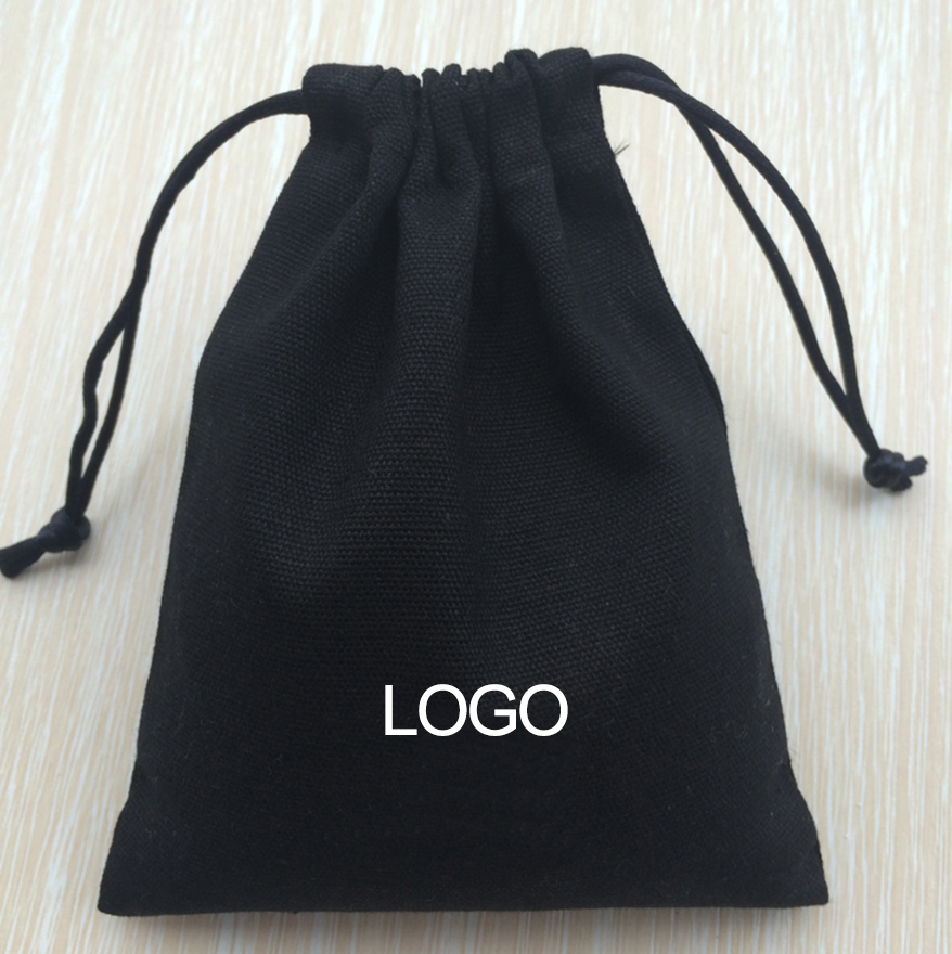 100PCS Black Canvas Drawstring Bag Jewelry Pouch 8A Cotton Canvas Bags Cosmetic Storage Wedding Gift Earrings Bead Custom Logo