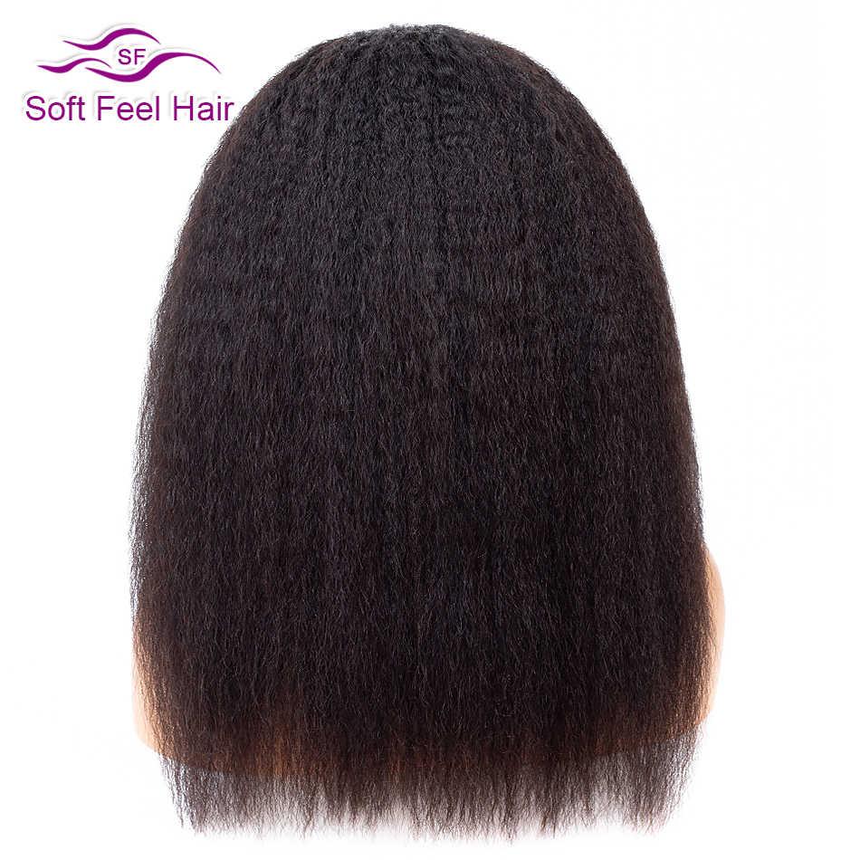 Soft Feel Hair Peluca de cierre de encaje recto rizado 4x4 peruano con pelo de bebé pelucas de cabello humano con cierre de Remy sin pegamento para negro las mujeres