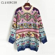 Зимний женский свитер с круглым вырезом, новинка, Рождественский длинный вязаный пуловер, свитер для женщин, цветочный принт, длинный рукав, джемпер, свитер