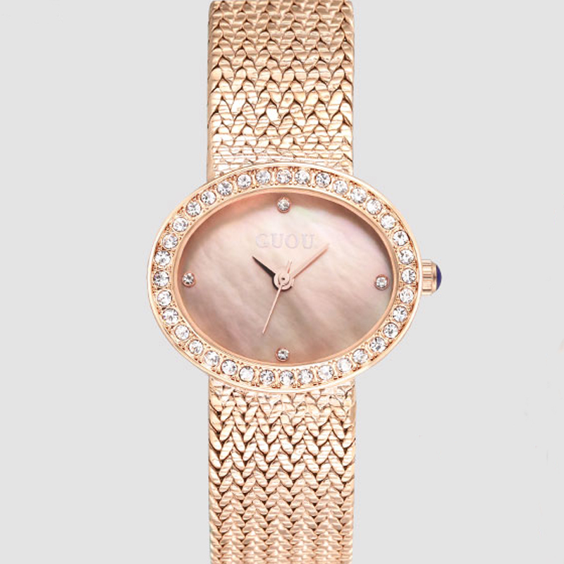 GUOU Top Luxury Brand Diamond Women Jewelry Watches Vintage Oval Watch Full Steel Bracelet Wrist Watch Business Analog Clocks