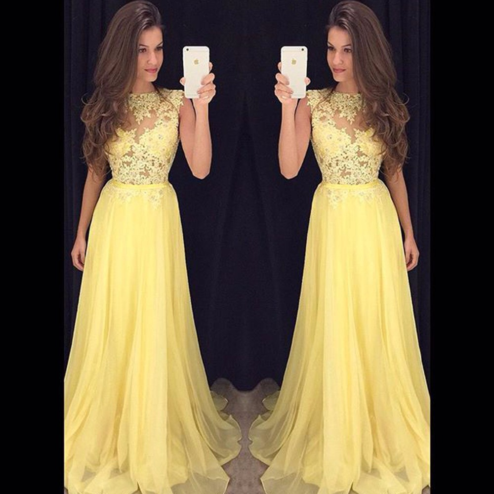 Evening     Dress   Yellow Chiffon Long Prom   Dresses   Lace Appliques Sexy Gowns Formal Party   Dress     Evening   Gowns