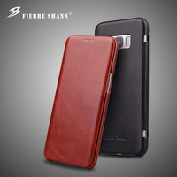 Fierre Shann Super Luxury Genuine Leather Cases For Samsung Galaxy S8 S8 plus iPhone X XR XS Max 6 6s 7 8 plus Flip Phone Cover