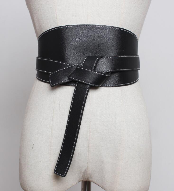 Women's Runway Pu Leather Cummerbunds Female Dress Corsets Waistband Belts Decoration Wide Belt R1854