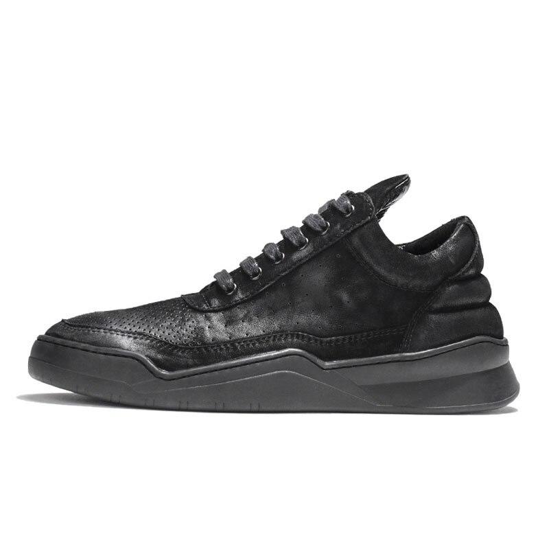 Designer Koe Suede Hollow Out Casual Schoenen Mannen Hoge Top Dikke Platform Skateboard Sapato Masculino Merk Sneakers Mannen Schoeisel - 2