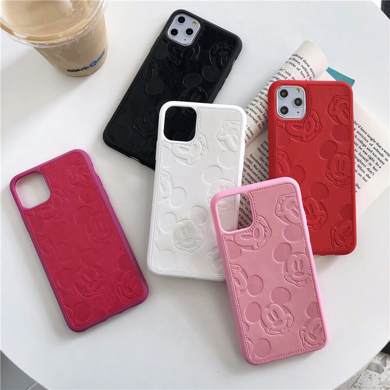 Cartoon <font><b>Mouse</b></font> relief leather <font><b>case</b></font> for <font><b>iPhone</b></font> 11 Pro <font><b>8</b></font> Plus 7 6 6S X XR XS Max Minnie avatar painting soft cortex cover fundas 10 image