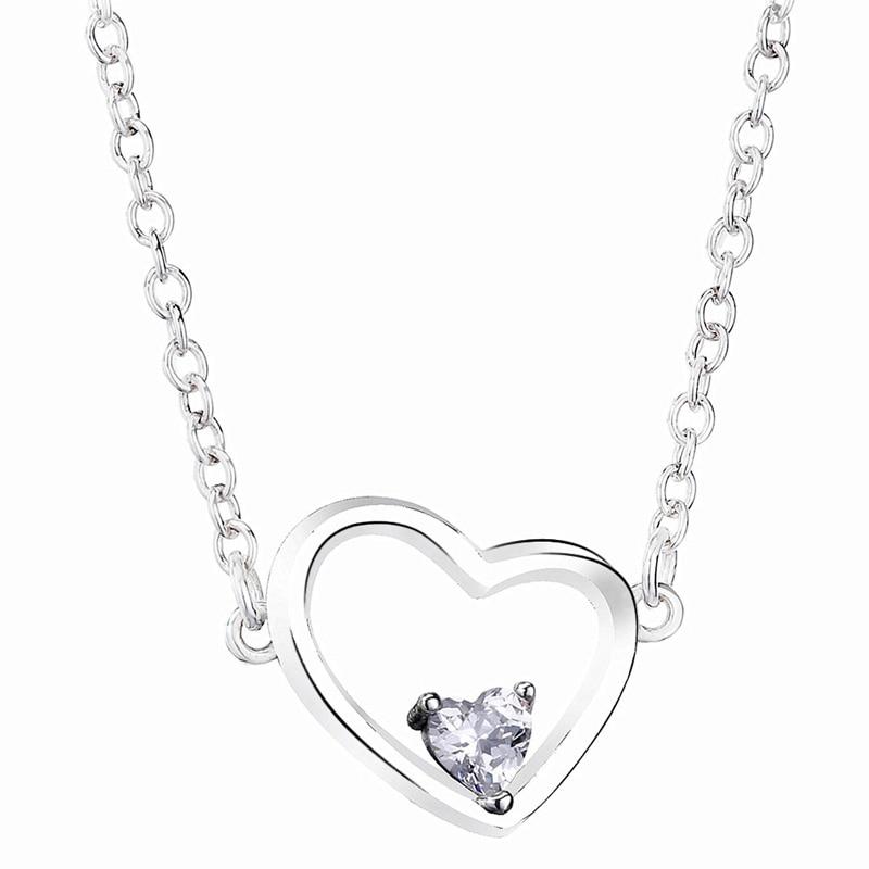 Новинка, 925 пробы, серебряное ожерелье, асимметричное, Сердце Любви, ожерелье с кристаллом для женщин, свадебный подарок, Европа, сделай сам, ...