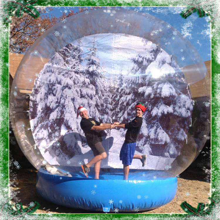 3M Inflatable Snow Globe For Christmas Decoration Transparent Snow Globe Customized Background Beautiful Photo Booth