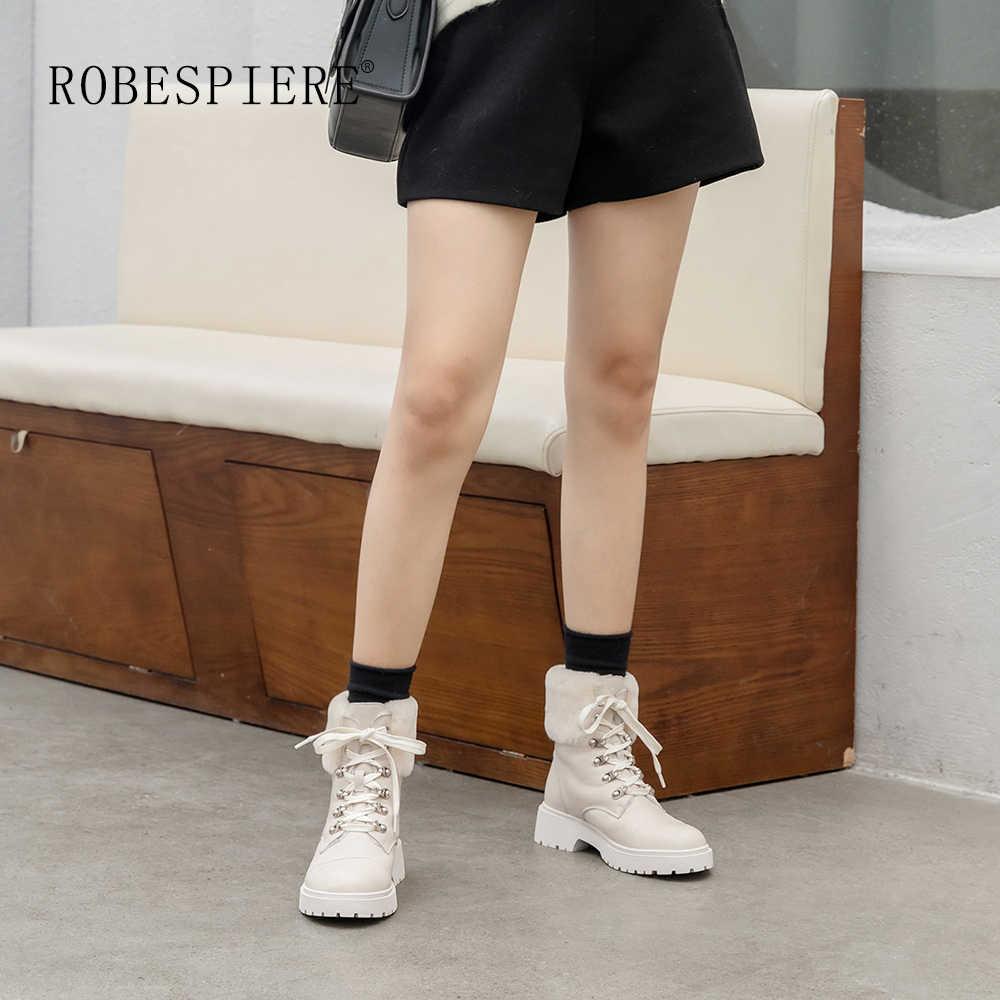 ROBESPIERE Frauen Plattform Schnee Stiefel Aus Echtem Leder Natürliche Wolle Pelz Damen Schuhe Lace Up Winter Warme Plüsch Stiefeletten B154