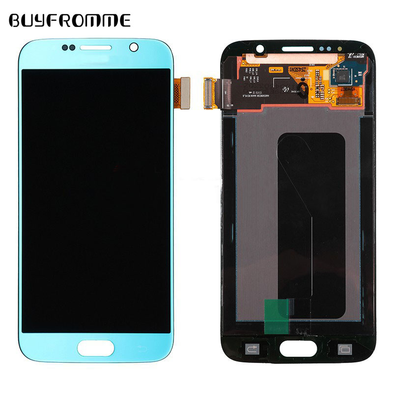 <font><b>Original</b></font> super amoled LCD <font><b>Display</b></font> White Blue Gold for <font><b>Samsung</b></font> Galaxy <font><b>S6</b></font> G920 <font><b>EDGE</b></font> with Touch Screen Digitizer Assembly image