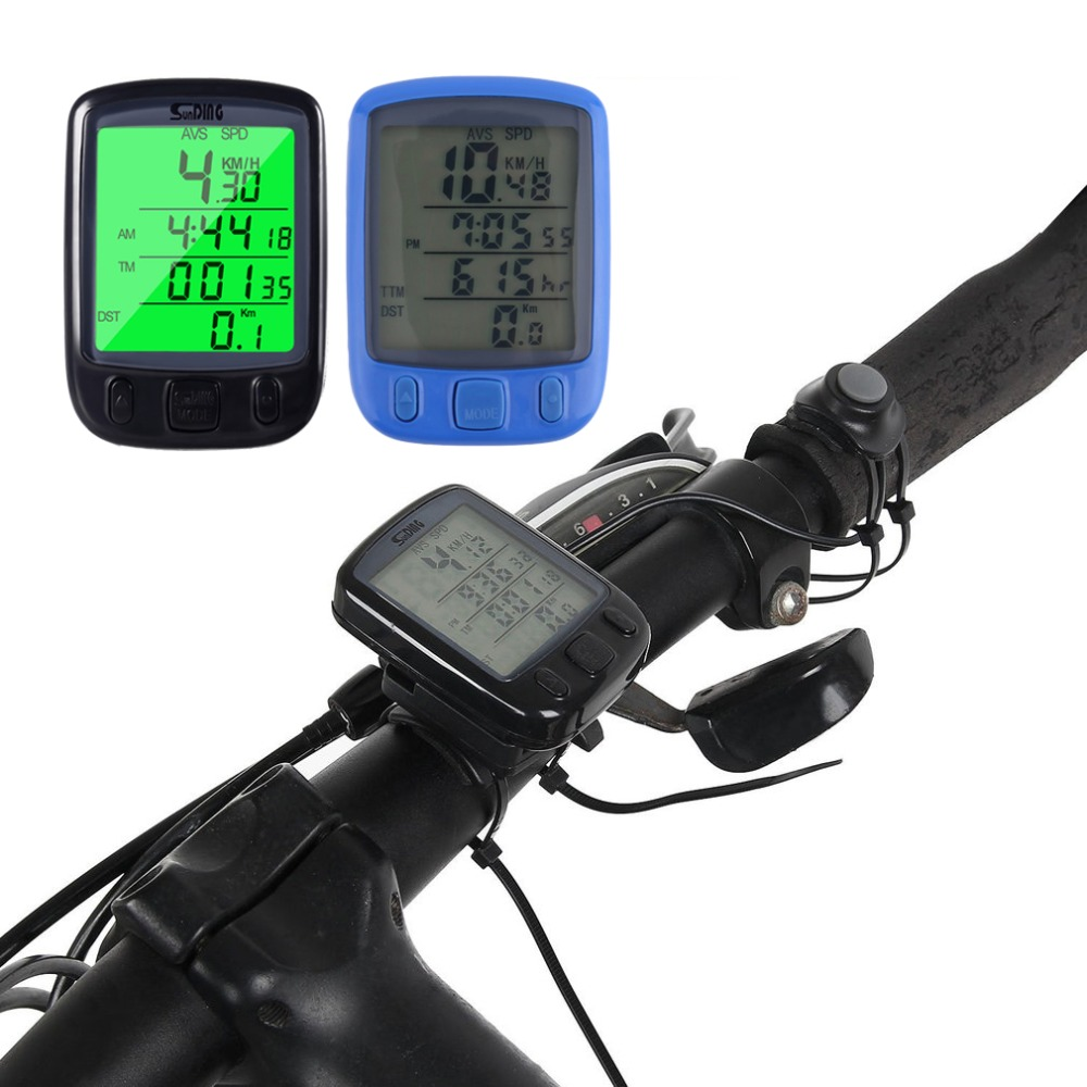 2018 563B Waterproof LCD Display Cycling Bicycle Wired Computer Odometer Speedometer Waterproof Speedometer With Green Backlight