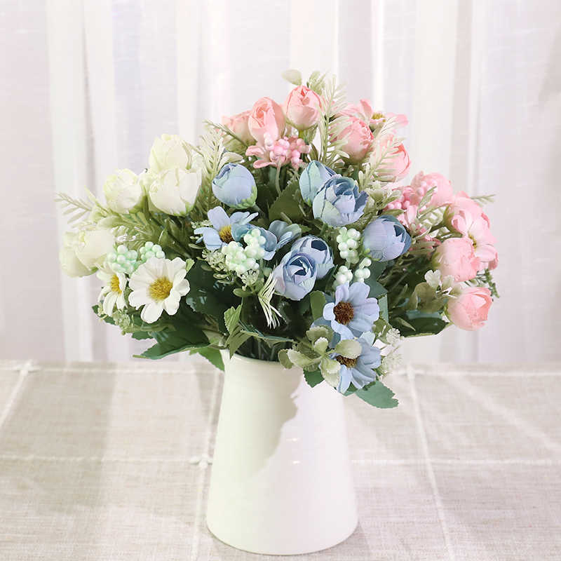 Silk Rose Artificial Flowers Bouquet White Wedding Home Christmas Decor Foam Accessories Blue Fake Flower Centerpieces For Table Artificial Dried Flowers Aliexpress