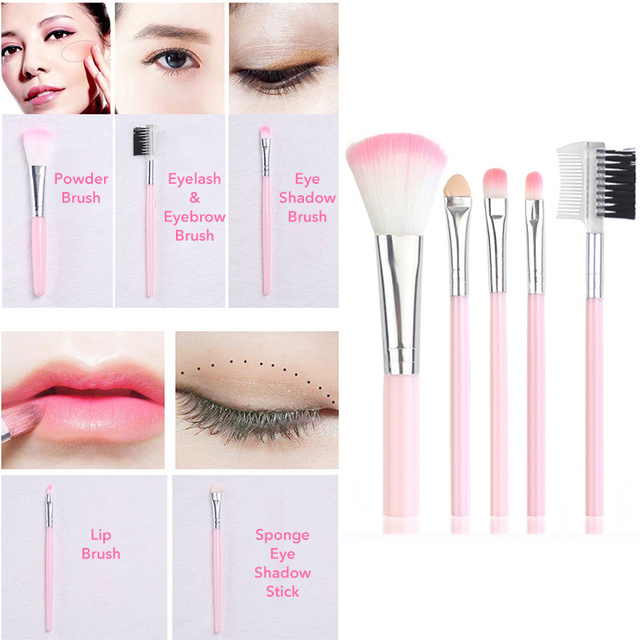 La Milee 20/5Pcs Makeup Brushes Set Eye Shadow Foundation Powder Eyeliner Eyelash Lip Make Up Brush Cosmetic Beauty Tool Kit Hot 3