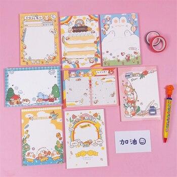 Большой блокнот для записей Kawaii, корейский блокнот с радужным сыром для кошек, 50 листов в партии