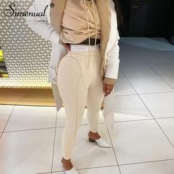 Simenual Fitness Sportswear Stirrup Leggings Women High Waits Striped Workout Active Wear Push Up Seamless Leggins Skinny Casual