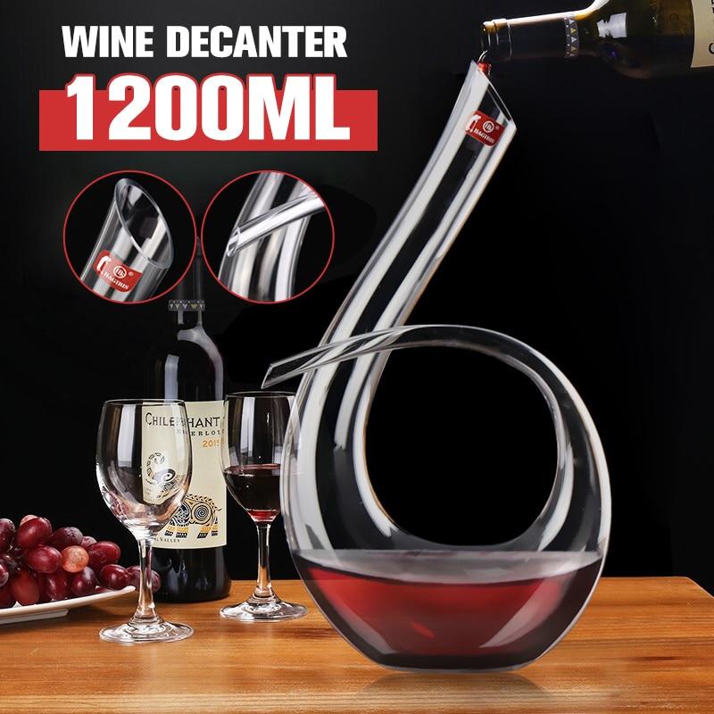 Durable 1200ml Big Decanter Handmade Crystal Red Wine Brandy Champagne Glasses Decanter Bottle Jug Pourer Aerator For Family Bar