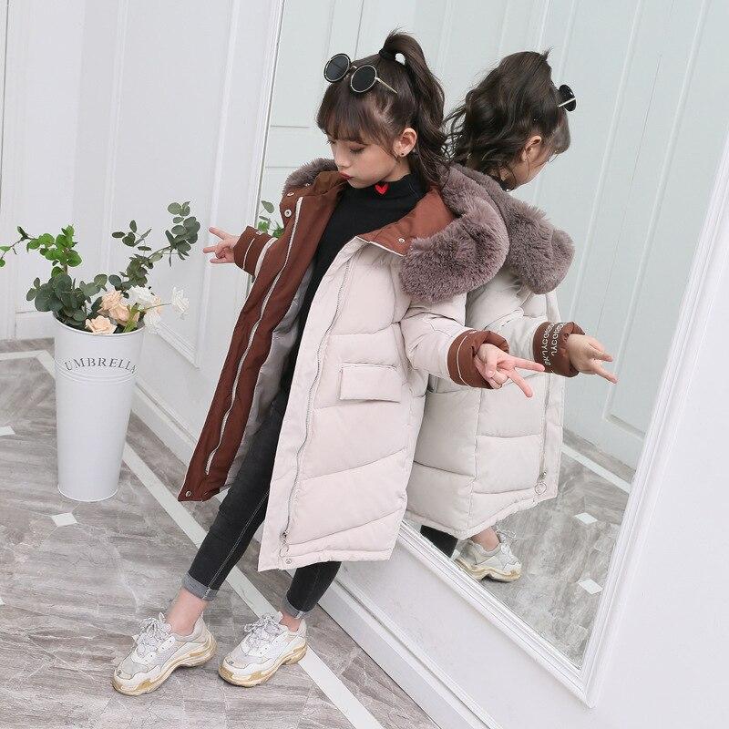 -30 °, зимняя детская куртка для девочек, длинное пальто, верхняя одежда и пальто с меховым воротником теплые пуховая куртка с капюшоном зимне...