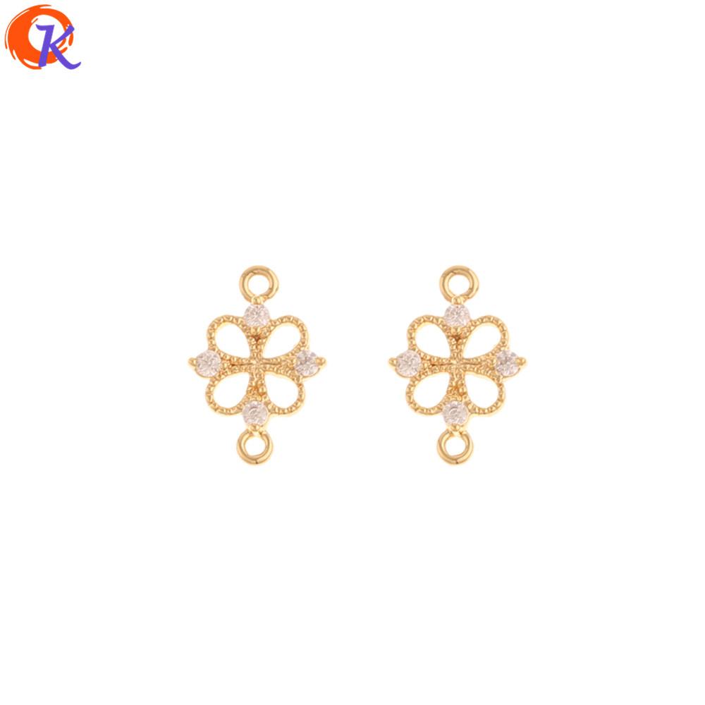 Cordial Design 50Pcs 10*14MM Jewelry Accessories/DIY Making/Genuine Gold Plating/CZ Earring Connector/Hand Made/Jewelry Findings