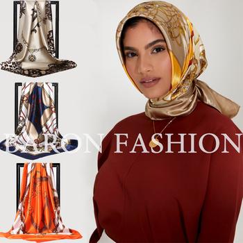 Premium kwadratowe szale jedwabne kobiety drukowane satynowe hidżab szalik muzułmańskie kobiece szale szyfonowe włosy owinięcie szale na głowę Pareo Bandanna tanie i dobre opinie CN (pochodzenie) Wzorzyste hidżaby POLIESTER Dla osób dorosłych Hijabs Nowość