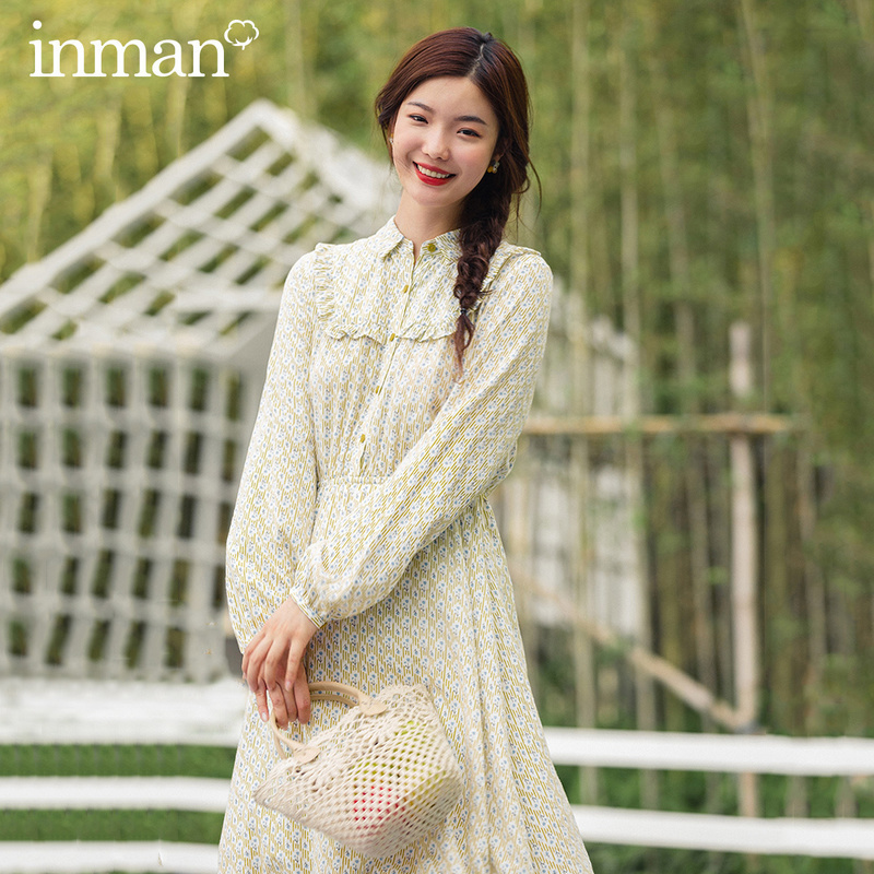INMAN 2020 New Arrival Literary Sweet Style Turn Down Collar Floral Pattern Elegant Fitting Long Sleeve Women Girl Dress