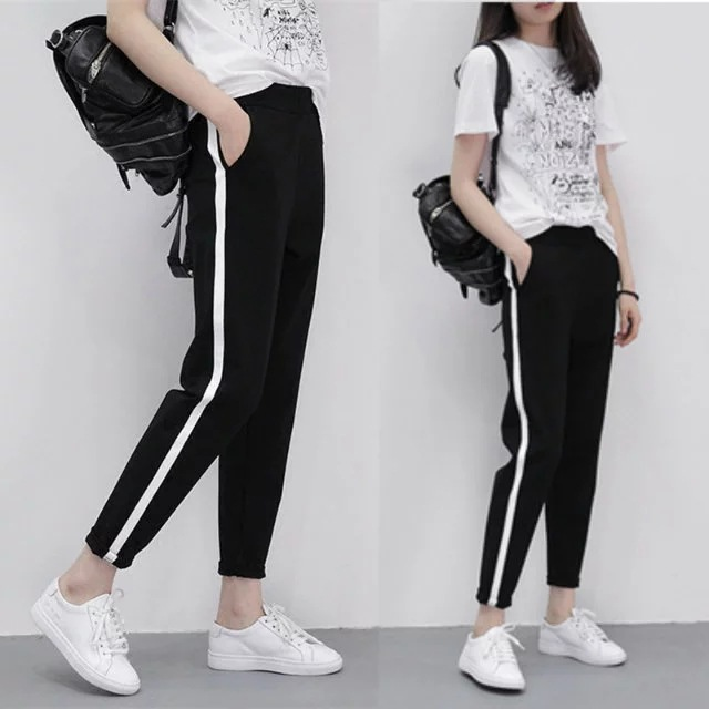 Japanese Style Couples Japanese-style Pants A Streak Of Bar Jian White Straight-Cut Athletic Pants Thin Type For Spring And Aut
