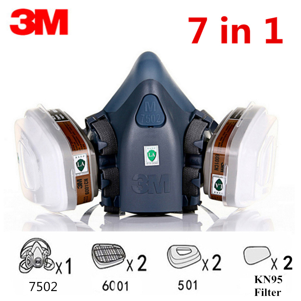 7 In 1 3M 7502 KN95 Gas Mask Chemical Respirator Protective Mask Industrial Paint Spray Anti Organic Vapor Dust Powder Mask 6001