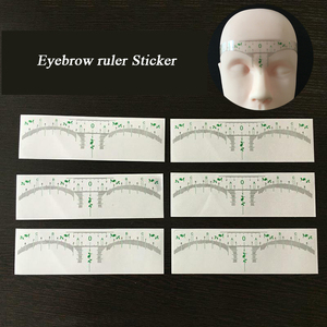 Image 5 - 100pcs קעקוע אביזרי חד פעמי 3D גבות שליט מדבקת עיצוב מדידת סטנסיל קבוע איפור Microblading ספקי