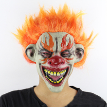 Halloween cosplay clown Masks High quality latex tape with orange hair Party mask