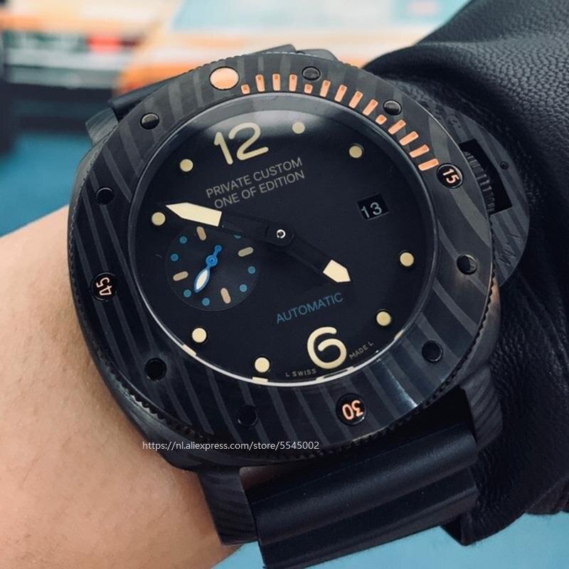Militaire de luxe marque affaires mouvement automatique montre 47mm montre automatique argent pvd boîtier marron bracelet en cuir mouvement