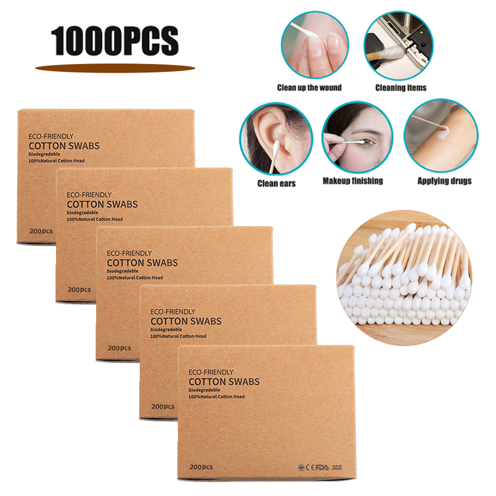 1000pcs Bamboo Cotton Swabs Disposable Double Head Cotton Buds Sticks For Ears Nose Cleaning Beauty Makeup