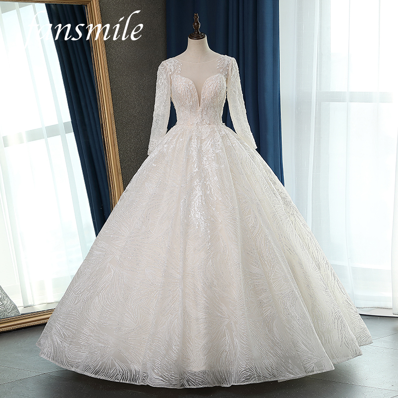 Fansmile Long Sleeve Quality Vestido De Noiva Lace Wedding Dresses 2020 Plus Size Customized Wedding Gowns Bridal Dress FSM-063F
