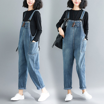 цены Summer Rompers Women Jeans Jumpsuit Large Size 2019 Loose Casual Denim Rompers Womens Jumpsuits Wide Leg Casual Denim Overalls