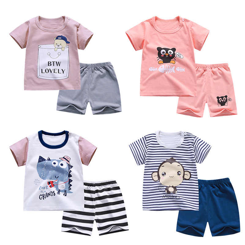 Cotton Summer Baby Boys Clothes Children Soft Shorts Suit T-shirt Todder Kids Dinosaur Girls Cartoon Cute Clothes Sets Pants