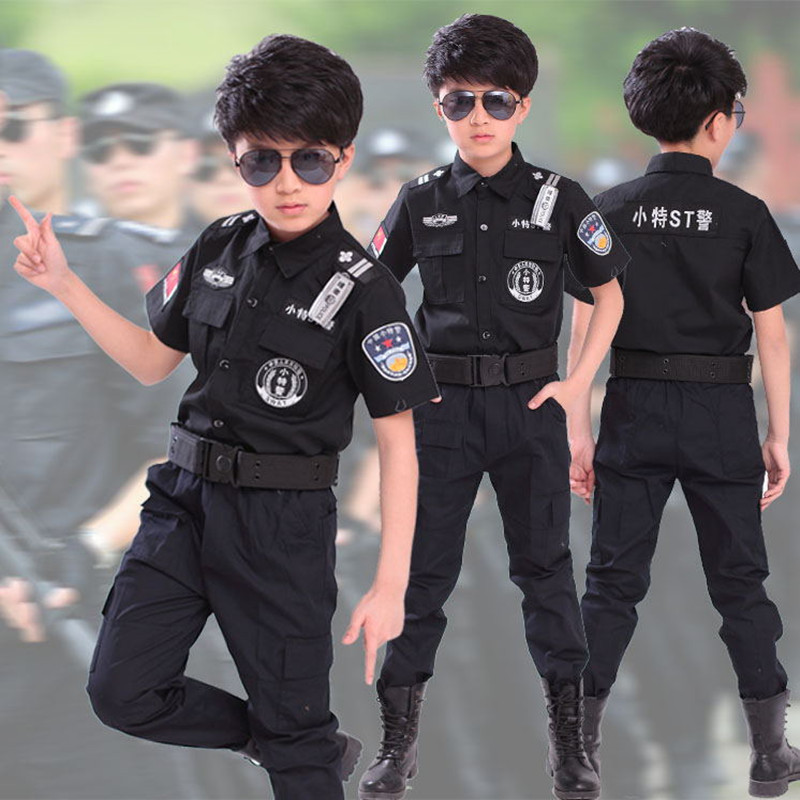 Children Small Uniform Photography Men And Women Traffic Police Costume Kindergarten Stage Small Police Uniform SWAT Men'S Wear