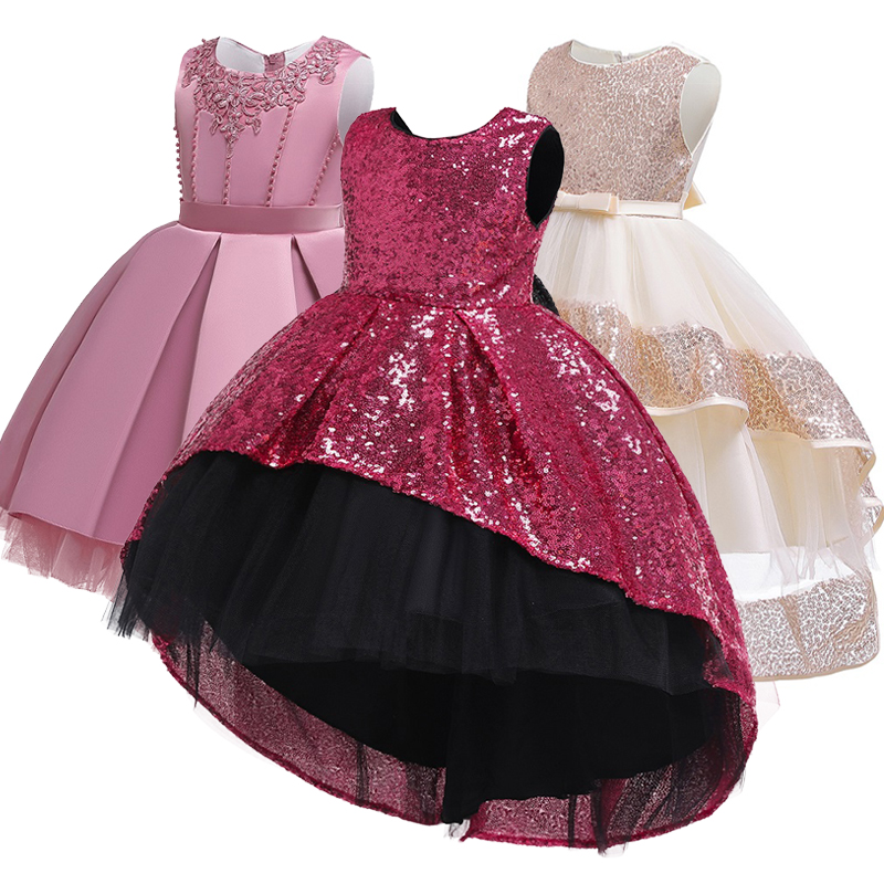 New Summer 2019 Girl Princess Wedding Banquet Segment Tail Dress Girl Campus Graduation Party Dance Tail Dress Vestidos