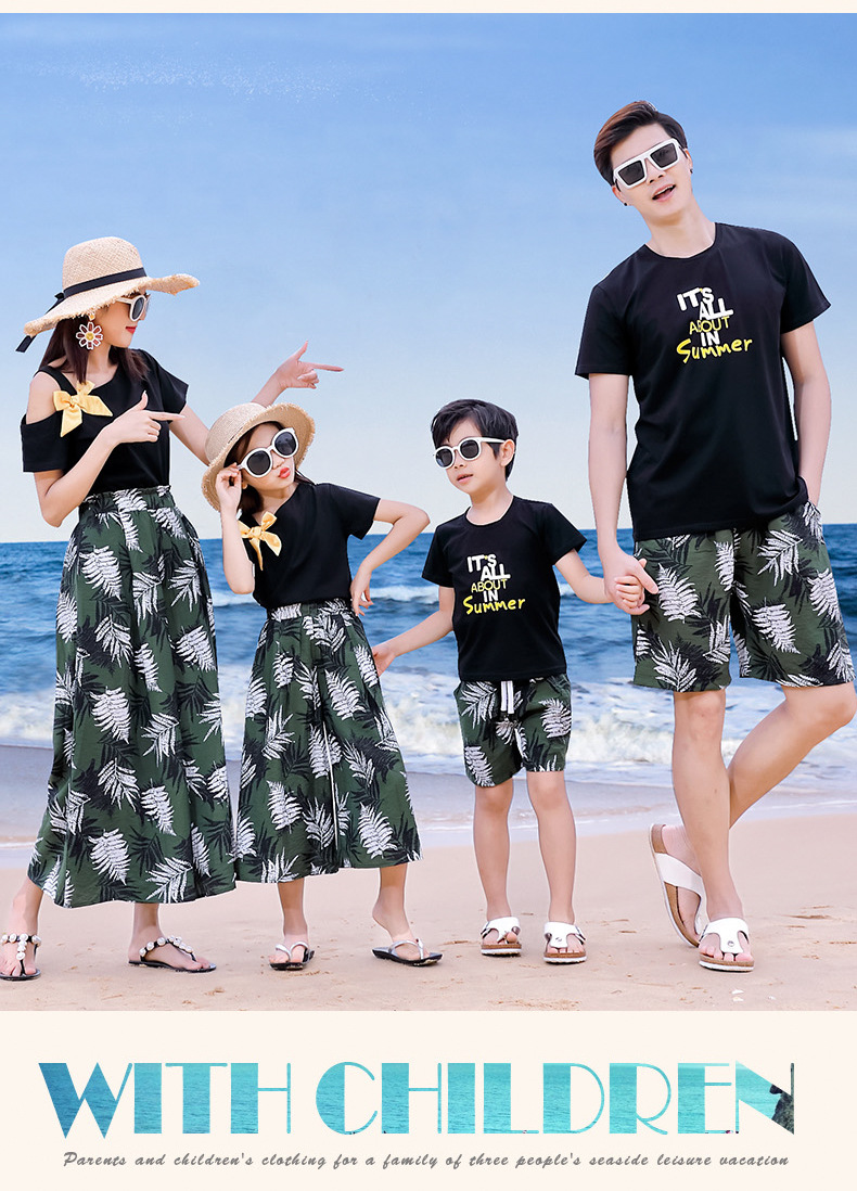 Hddc657dab75a4381b635178f3efe8a3d0 - Matching Family Outfits Summer Mum Daughter Dad Son Cotton T-shirt +Pants Holiday Seaside Beach Couples Matching Clothing