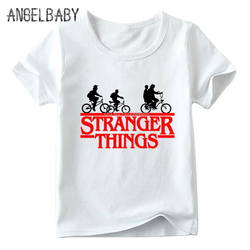 Boys And Girls Cartoon Stranger Things Will's Message Print T Shirt Kids Summer Casual White Tops Children Funny T-shirt,ooo2421