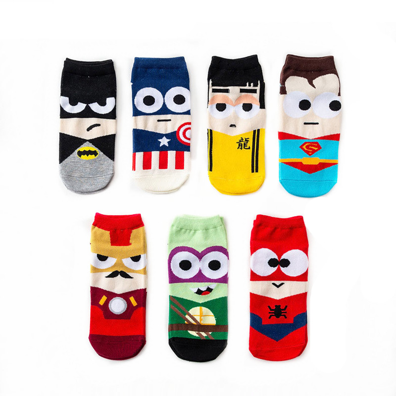 Men's Socks Superheros Boat Socks For Superman Batman Captain Arrowman Superheroes Invisible Happy Socks Funny Soft Cotton