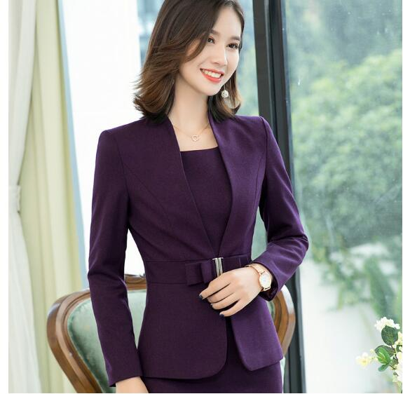Purple Blazer Women Fashion New Autumn Temperament Formal Long Sleeve Slim Jacket Office Ladies Business Work Coat