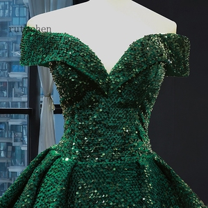 Image 3 - Gorgeous Sequin Evening Dress Long Off The Shoulder Emerald Green Women Formal Pageant Prom Gowns