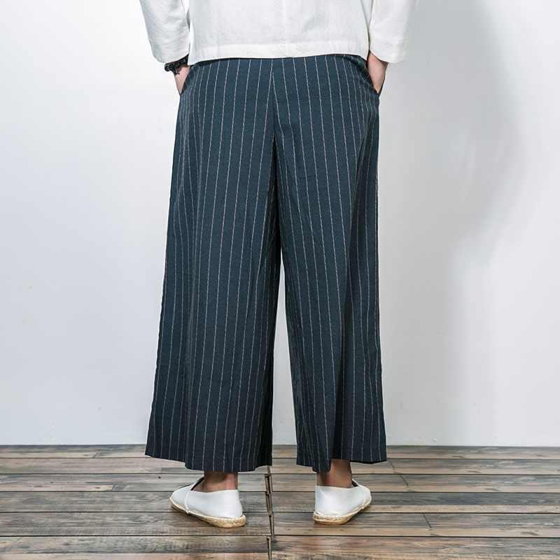 Новинка, китайский стиль, мужские Модные свободные удобные брюки, хлопок, лен, Экстра широкие брюки, мужские штаны-шаровары на шнурке, KK3259