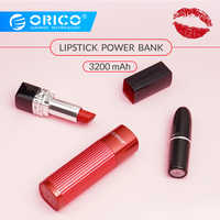 ORICO 3200mAh Mini Tragbare Frau Lippenstift Mobile Power Bank Externe Mobile Batterie Für Die Telefon USB Typ C Ladegerät power