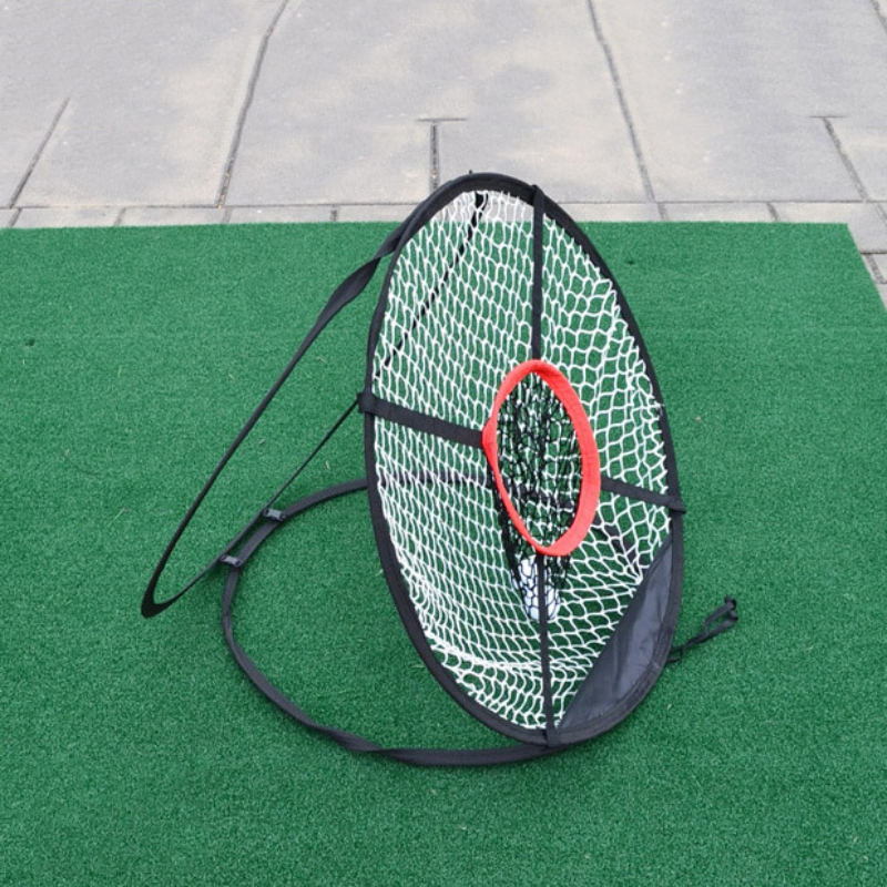 Golf Chipping Net Outdoor Chipping Pitching Cages Mat Indoor Collapsible Trainer Golfing Target For Practice Golf Training Aid
