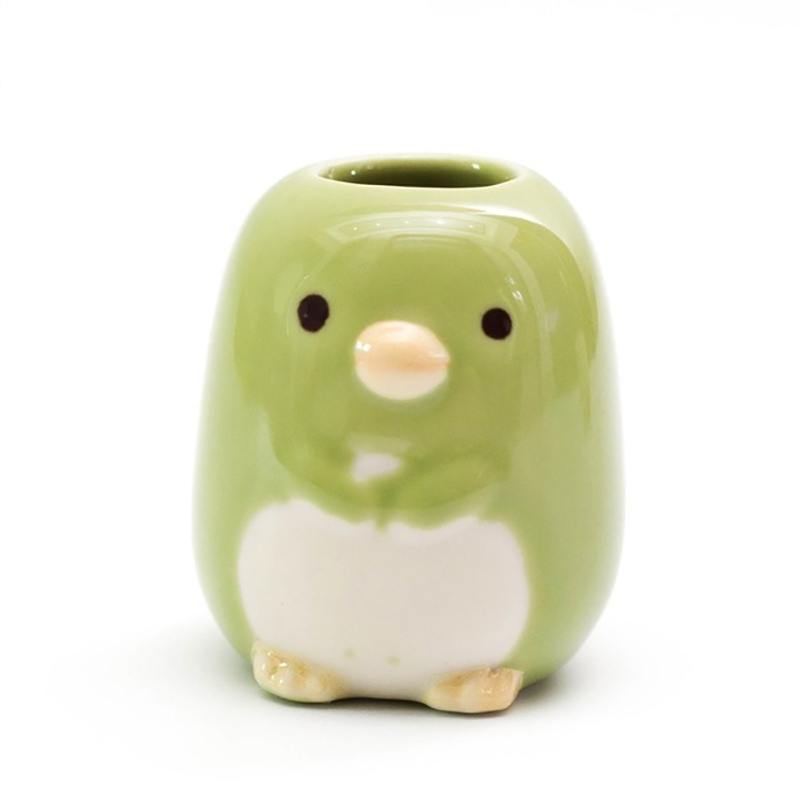Ceramic Cartoon Animal Toothbrush Holder Bathroom Stand Toothbrushes Sundries Storage Container Tableware Organizer Rack Green image