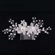 Trendy Silver Color Flower Pearl Bridal Hair Combs Wedding Hair Accessories Headpiece Hair ornaments Bride Women Hair Jewelry недорого